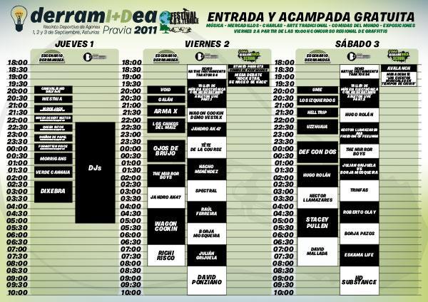 DERRAMIDEA 2011 – Horarios