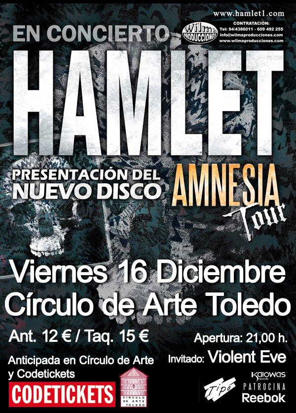HAMLET y VIOLENT EVE, en Toledo el 16 de diciembre.