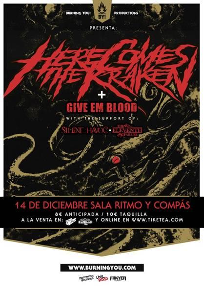 HCTK +GIVE EM BLOOD+SILENT HAVOC+THE ELEVENTH FAILURE, en concierto.