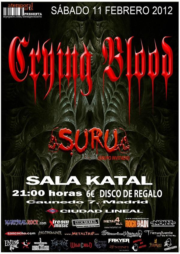 CRYING BLOOD y SURU en concierto el 11 de febrero.