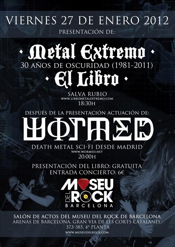 """""""Metal Extremo, El Libro""""+WORMED, presentación y concierto en Barcelona."""