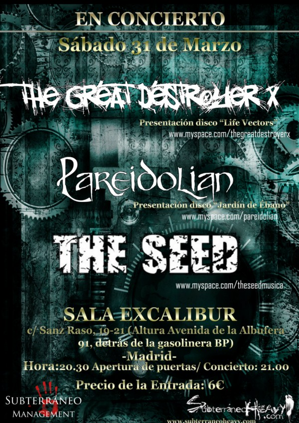 THE GREAT DESTROYER X, PAREIDOLIAN y THE SEED en Madrid