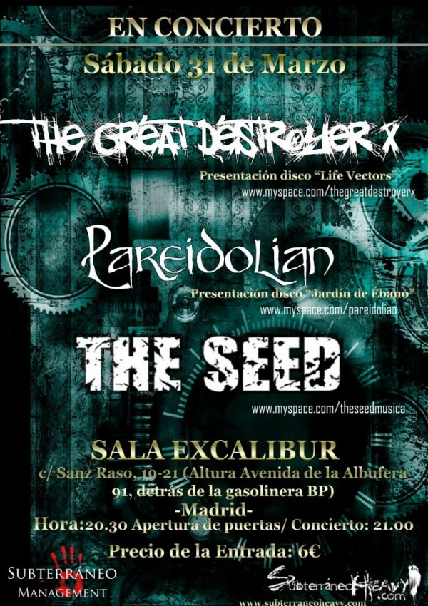 TGDX + PAREIDOLIAN + THE SEED – Madrid – 31/03/12