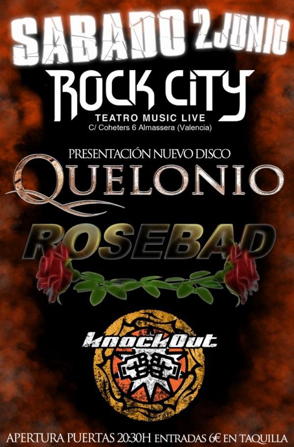 QUELONIO, ROSEBAD y KNOCKOUT el sábado día 2 de junio en Valencia
