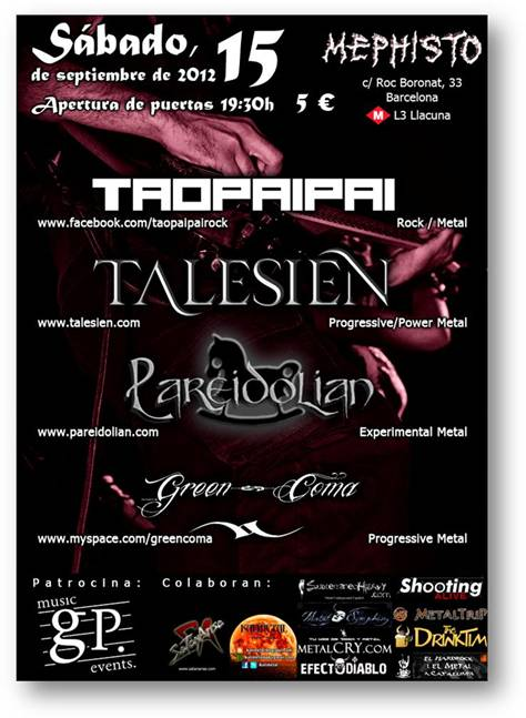 TAO PAI PAI + TALESIEN + PAREIDOLIAN + GREEN COMA en concierto
