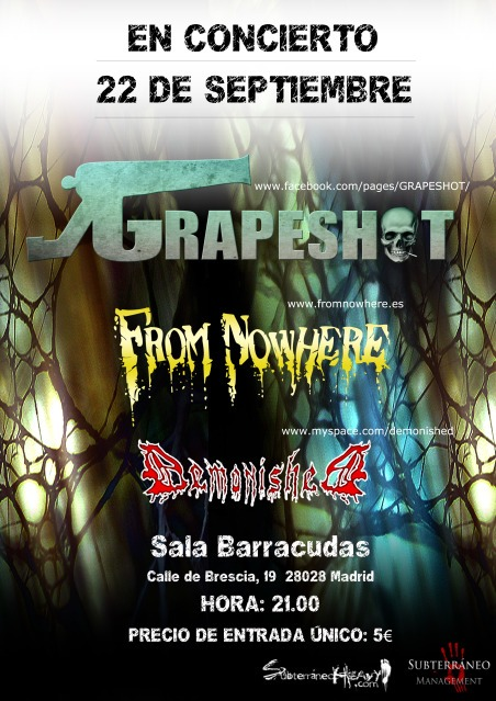 GRAPESHOT + FROM NOWHERE + DEMONISHED en Madrid