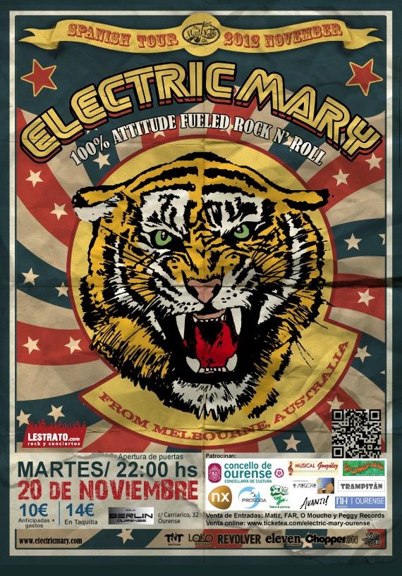 ELECTRIC MARY – Nota de prensa, concierto en Ourense