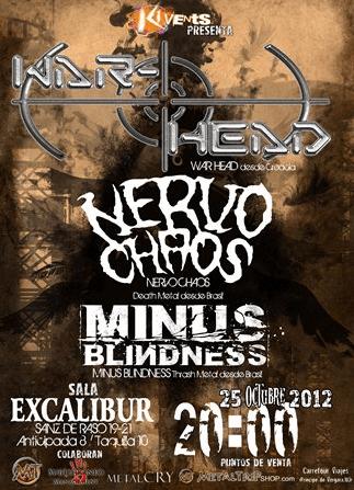 WAR – HEAD + NERVO CHAOS + MINUS BLINDNESS este jueves en Madrid