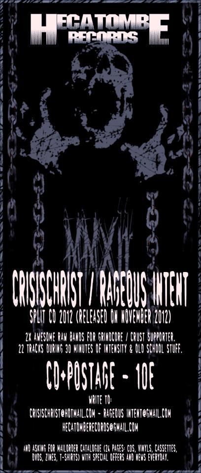 HECATOMBE RECORDS lanza el nuevo split de CRISIS CHRIST y RAGEOUS INTENT.