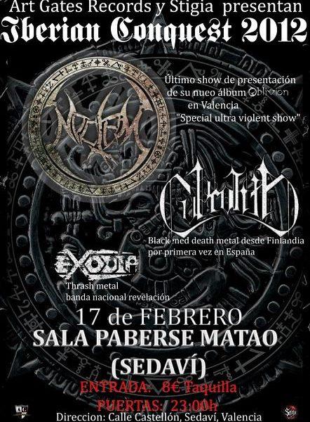 Concierto de NOCTEM, COPROLITH (Fin) y EXODIA en Valencia