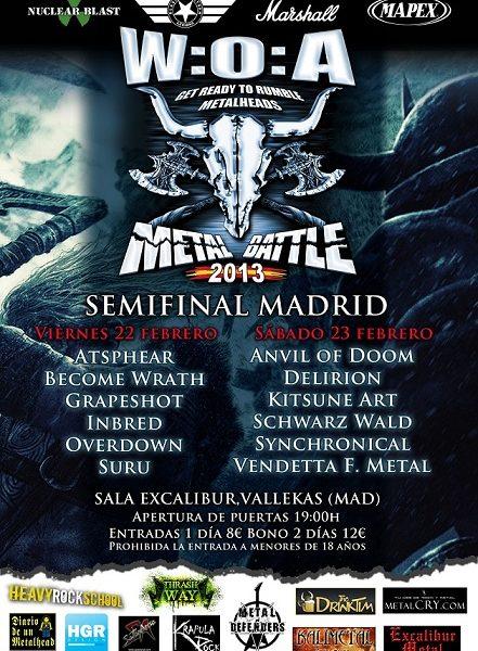Semifinales W:O:A Metal Battle – Madrid – Sábado 23/02/13