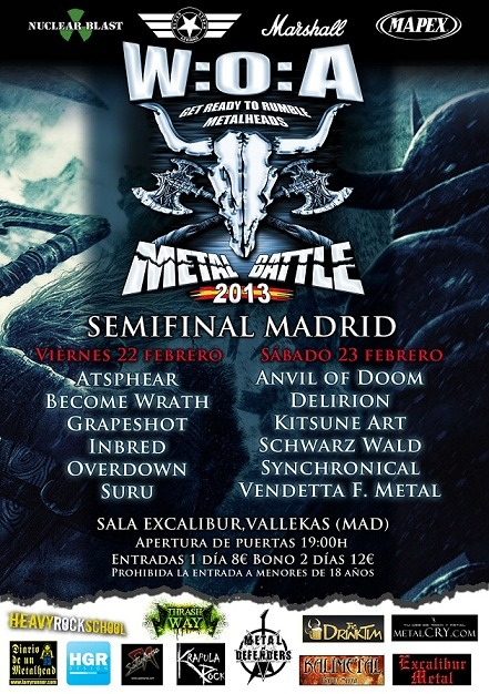 Semifinales W:O:A Metal Battle – Madrid – Viernes 22/02/13