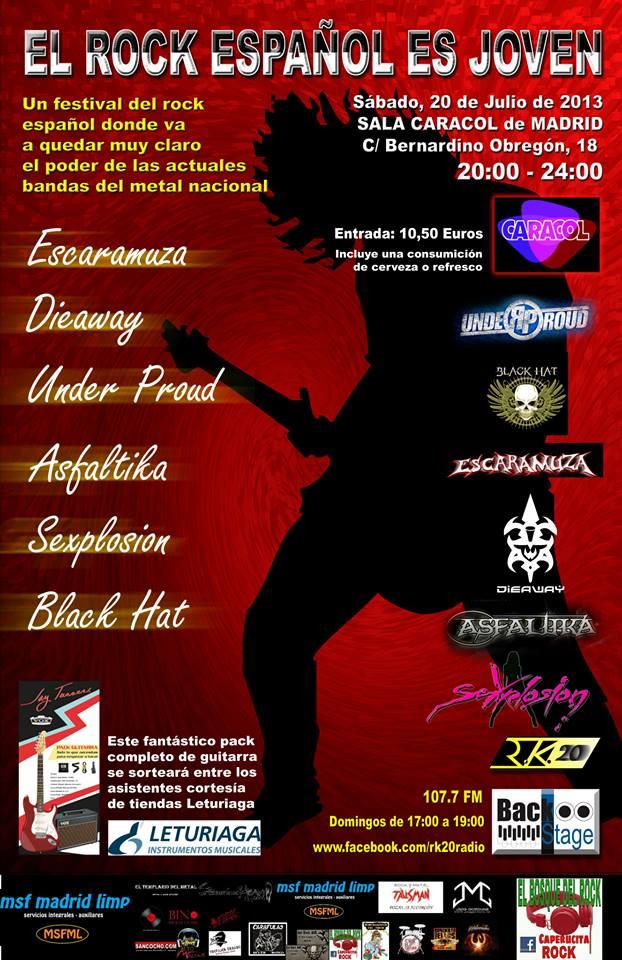 EL ROCK ESPAÑOL ES JOVEN, 20 de julio, Sala Caracol, Madrid