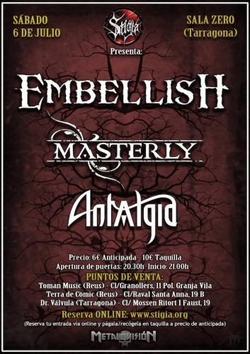 EMBELLISH en Tarragona junto a MASTERLY y ANTALGIA