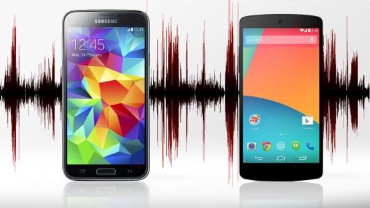 Latencia en el motor de audio de Android 5.0: Samsung Galaxy S5 vs Google Nexus 5