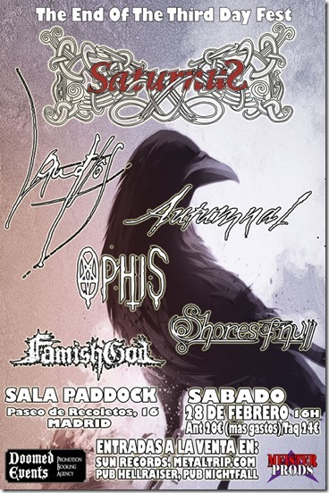 The end of the third day fest, 28 de febrero en Madrid