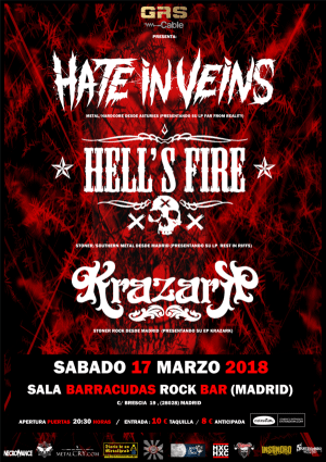 HATE IN VEINS + HELL´S FIRE + KRAZARK