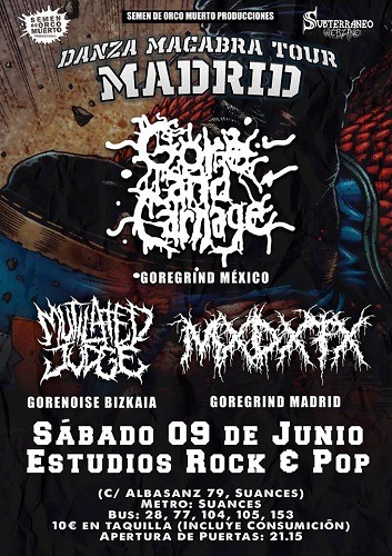 Danza macabra tour: GORE & CARNAGE + MUTILATED JUDGE + MxDxFx