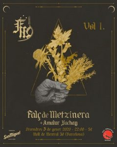 Cartel concierto Falç de Metzinera + Amalur Yachay en Sala Monasterio Barcelona. 03/01/2020